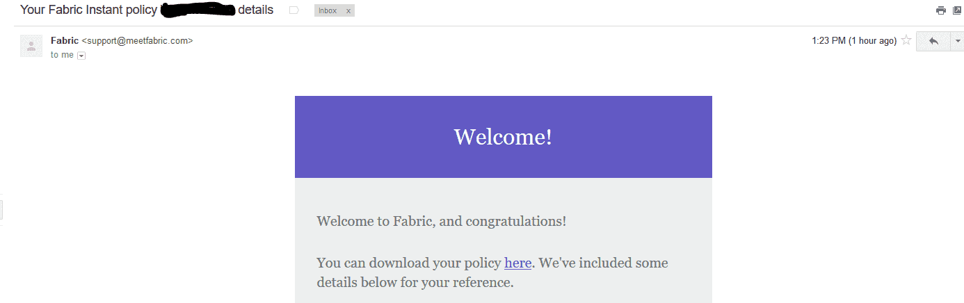 fabric life welcome email