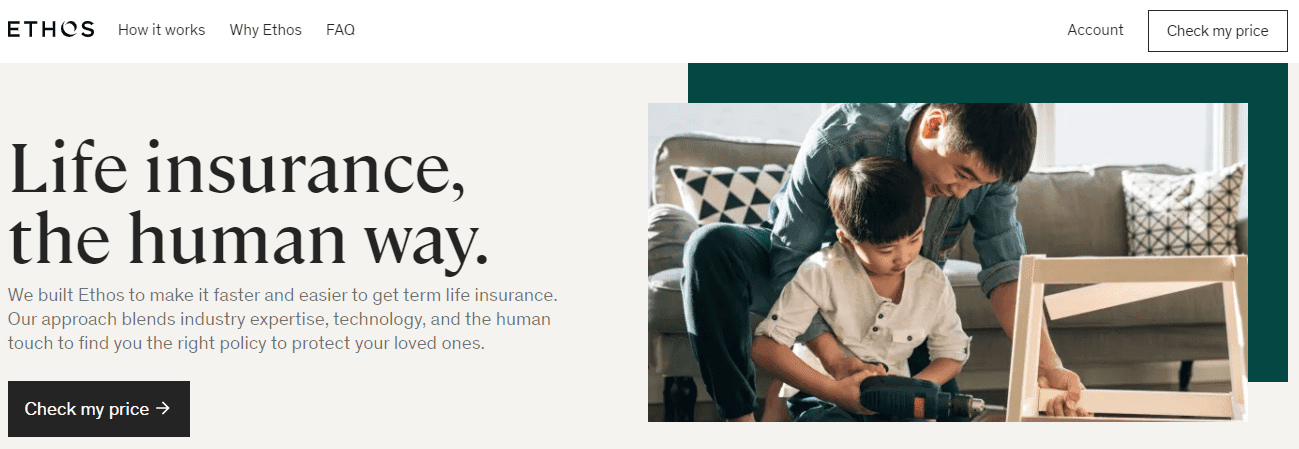 ethos life new home page